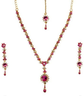Rashi Jewellery Alloy Jewel Set(Pink, Red)