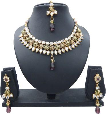 Shree Bhawani Art Jewellery Alloy Jewel Set(Purple, Green)