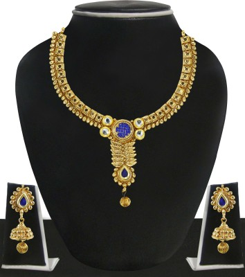 Zaveri Pearls Zinc Jewel Set(Gold, Blue) at flipkart