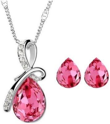 Cyan Alloy Jewel Set(Pink)