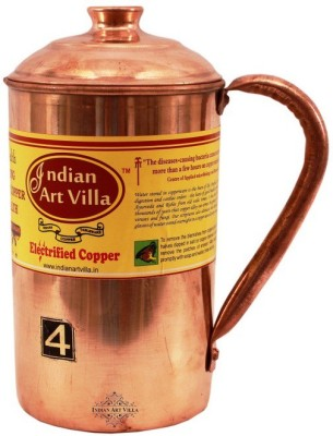 Indian Art Villa Copper Water Jug 1200 ML - Storage Serving Water Benefit Yoga Ayurveda Water Jug(1.2 L)