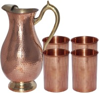 Dakshcraft Drinkware Mughlai With 4 Pure Copper Tumbler From India Jug Glass Set