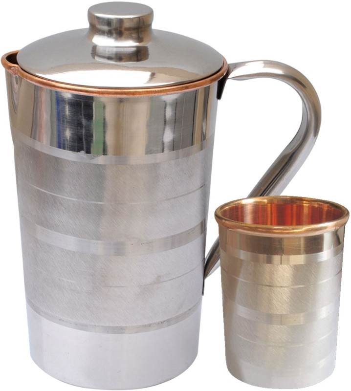 Dakshcraft Drinkware with 1 Tumblers Steel Copper Kitchenware from India Jug Glass Set(Copper)