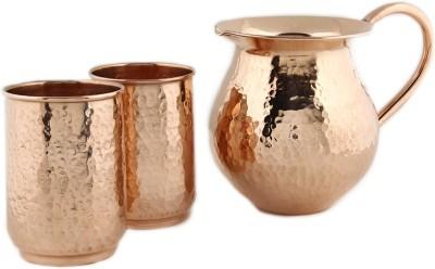 Kalpaveda Copper Drinkware Set for Ayurveda Healing Jug Glass Set