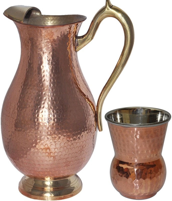 Dakshcraft DSCJ015-DSCGL004-1 Jug Glass Set(Copper)