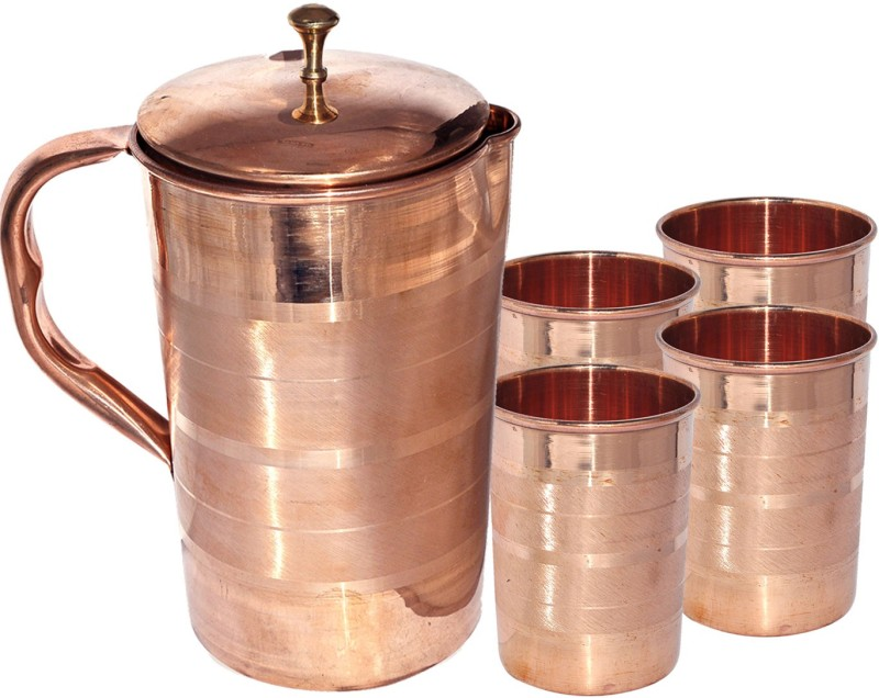 Dakshcraft Pure Copper with 4 Tumbler Set for Ayurvedic Healing Jug Glass Set(Copper)