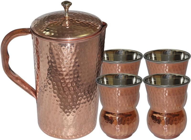 Dakshcraft Copper Pitcher With 4 Tumbler Drinkware Set for Ayurveda Benefits Jug Glass Set(Copper)