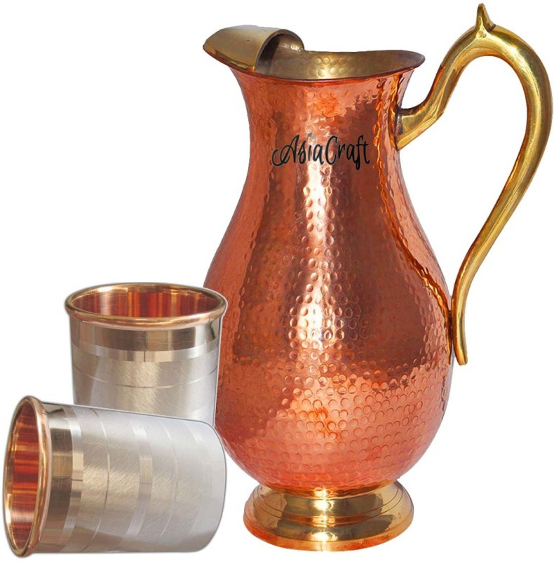 AsiaCraft Jug-005-Tumbler001-2 Jug Glass Set(Copper)
