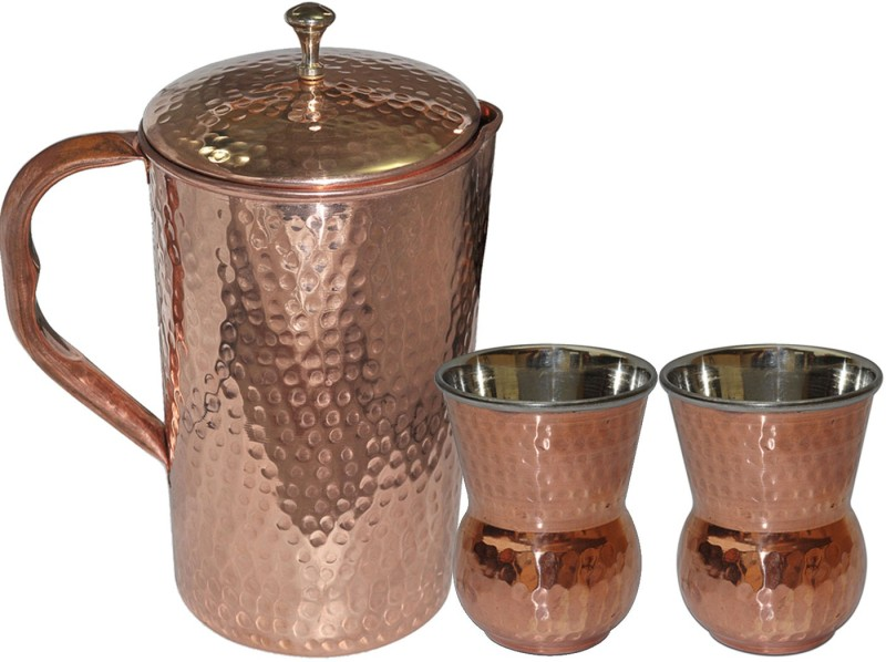 Dakshcraft Copper Pitcher With 2 Tumbler Drinkware Set for Ayurveda Benefits Jug Glass Set(Copper)