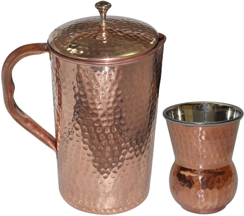 Dakshcraft DSCJ010-DSCGL004-1 Jug Glass Set(Copper)