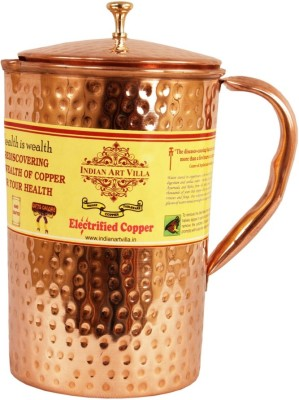 Indian Art Villa Copper Hammered Jug|Welded Handle - Top Quality|Benefit Yoga Water Jug(1.9 L)
