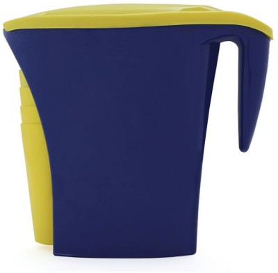 MOM Italy With Four Cups Blue With Yellow Water Pitcher Set