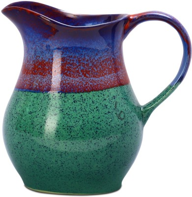 Caffeine Ceramic in Glossy Green Base and Multicolor Studio (1pc) Water Pitcher