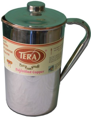 Tera India Copper jug with Steel finish outside Water Jug