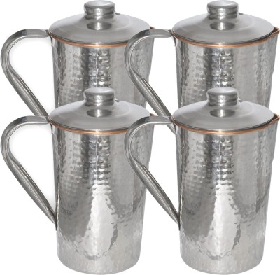 Prisha India Craft (Set of 2) Dimple (1600 ml) Hammered Design Outside Stainless Steel Indian Utensils for Ayurveda Healing Capacity 1.6 L Water Jug Set(1.65 L, Pack of 4)
