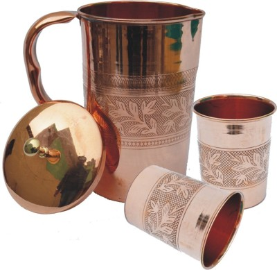 Veda Home & Lifestyle COPPER EMBOSSED JUG SET SMALL Water Jug Set