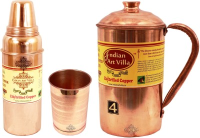 IndianArtVilla Set of 1 Copper Jug Pitcher with 1 Copper Glass Tumbler & 1 Copper Water Bottle Thermos Design Bottle - Home Hotel Restaurant Tableware Water Jug(2.3 L, Pack of 3)