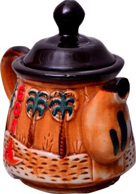 Purpledip Artisan Handmade Ceramic Glazed Teapot Go Go Goa(10528), 500 ml Kettle Jug(1 L)