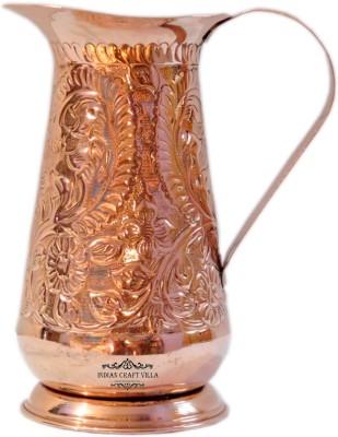Indian Craft Villa Handmade Designer Pure Copper Vessel 1200 ML for Storage Water Good Health Benefits Yoga, Ayurveda Water Jug(1.3 L) at flipkart