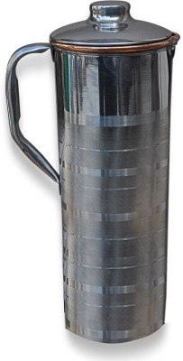 Dakshcraft Copper With Lid Outside Stainless Steel For Healing and Longevity Water Pitcher