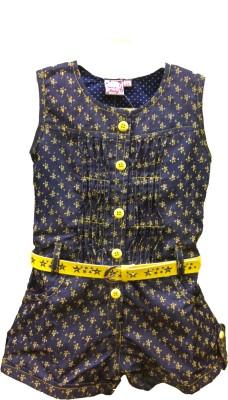 DesiWeaver Self Design Girl's Jumpsuit
