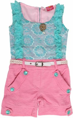 Flower Child Solid, Embroidered Girl's Jumpsuit