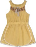 Budding Bees Embroidered Girls Jumpsuit