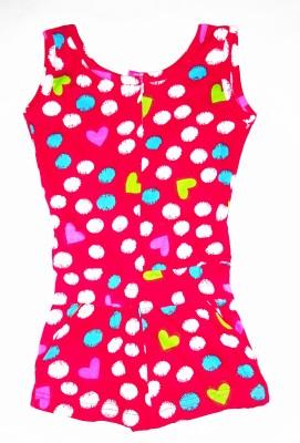 Tomato Polka Print Girl's Jumpsuit