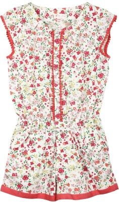 My Lil,Berry Printed Girl's Jumpsuit