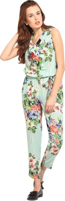 Blue Sequin Floral Print Women's Jumpsuit