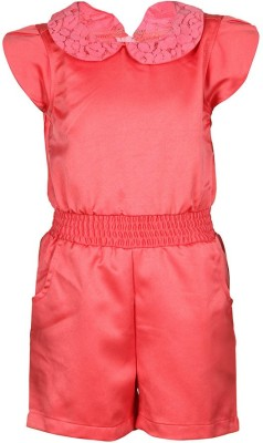 Tickles By Inmark Solid Girl's Jumpsuit