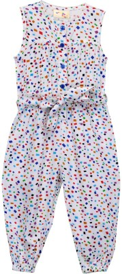 Budding Bees Printed Baby Girl's Jumpsuit