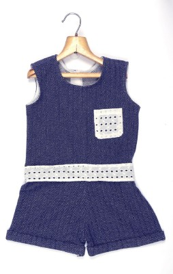 Marshmallow Solid Girls Jumpsuit