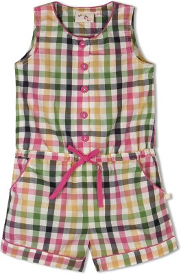 Budding Bees Checkered Girl's Jumpsuit