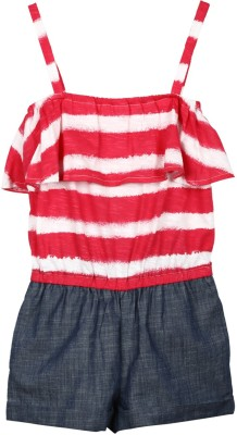 My Lil,Berry Striped Girl's Jumpsuit