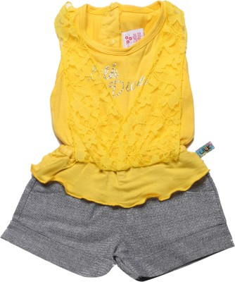 Little Kangaroos Self Design Girl's Jumpsuit