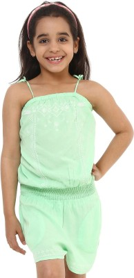 Oxolloxo Embroidered Girl's Jumpsuit