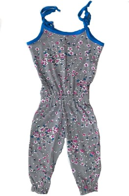 Tomato Floral Print Girl's Jumpsuit