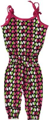 Tomato Geometric Print Girl's Jumpsuit