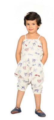 Fuschia Tribe Printed, Woven Girl's Jumpsuit