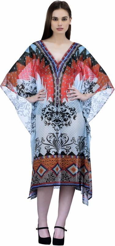 Ahalyaa Printed Faux Chiffon Women's Kaftan