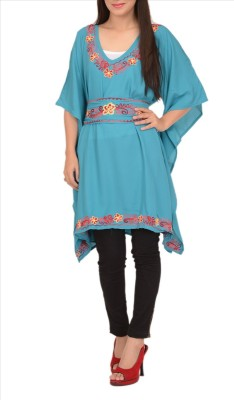 Skirts & Scarves Embroidered Moss Crepe Women's Kaftan