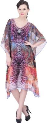 Trendif Graphic Print Poly Weightless Georgette Women's Kaftan
