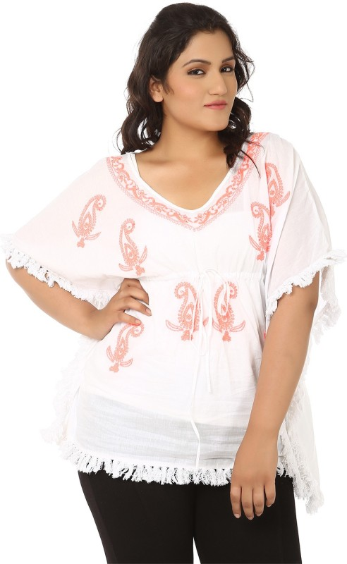 LASTINCH Casual Short Sleeve Embroidered Women's White, Orange Top