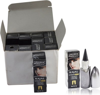 7 Heaven's PHOTO GENIC ULTIMATE BLACK KAJAL PACK OF 12 PCS 3 g