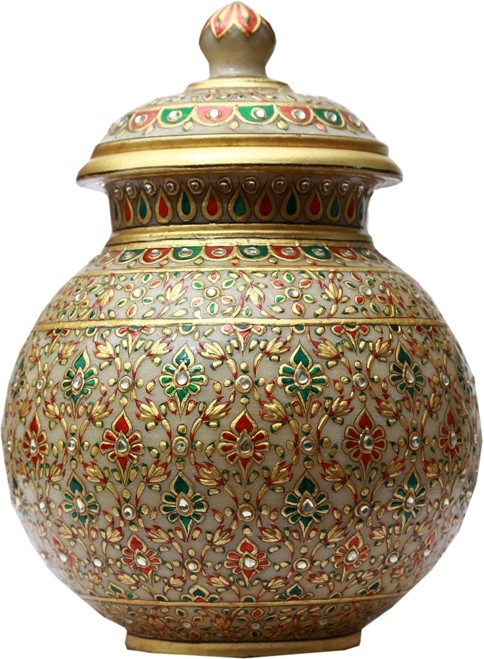 AnD Artvilla 24k Gold Paste Work Marble Kalash(Height: 10 inch, Gold)