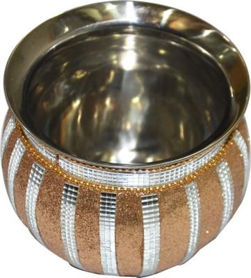Anjalika Decorative Gold Steel Kalash(Height: 4 inch, Gold)
