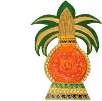 Craftszilla Om Wooden Kalash(Height: 14.5 inch, Orange)