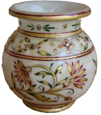 Craft International Marble Kalash(Height: 4 inch, White, Gold, Green, Red)