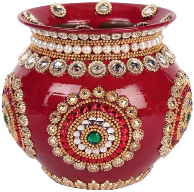 Suman Creations Copper Kalash(Height: 14 inch, Red)